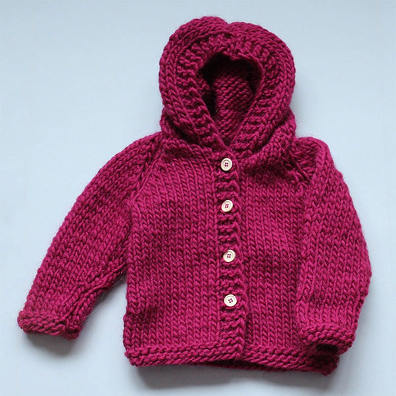 4d94c9f99 Chunky baby / kid's cardigan / jacket with hood knitting pattern in English  and Danish - sizes 1 - 24 months