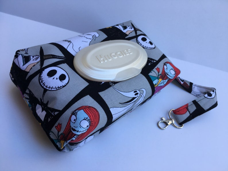 Portrait Nightmare before Christmas Print Diaper and Wipe Zippered Pouch Clutch with Oval Opening and Detachable Lanyard
