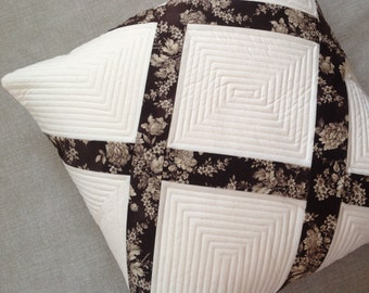 Modern quilted pillow - decorative pillow - white pillow - quilted pillow cover - neutral pillow -  patchwork pillow