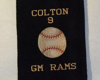 Personalized Towel, Tri-Fold Baseball Bag Towel w/center grommet & hook, Names, Sports Towels