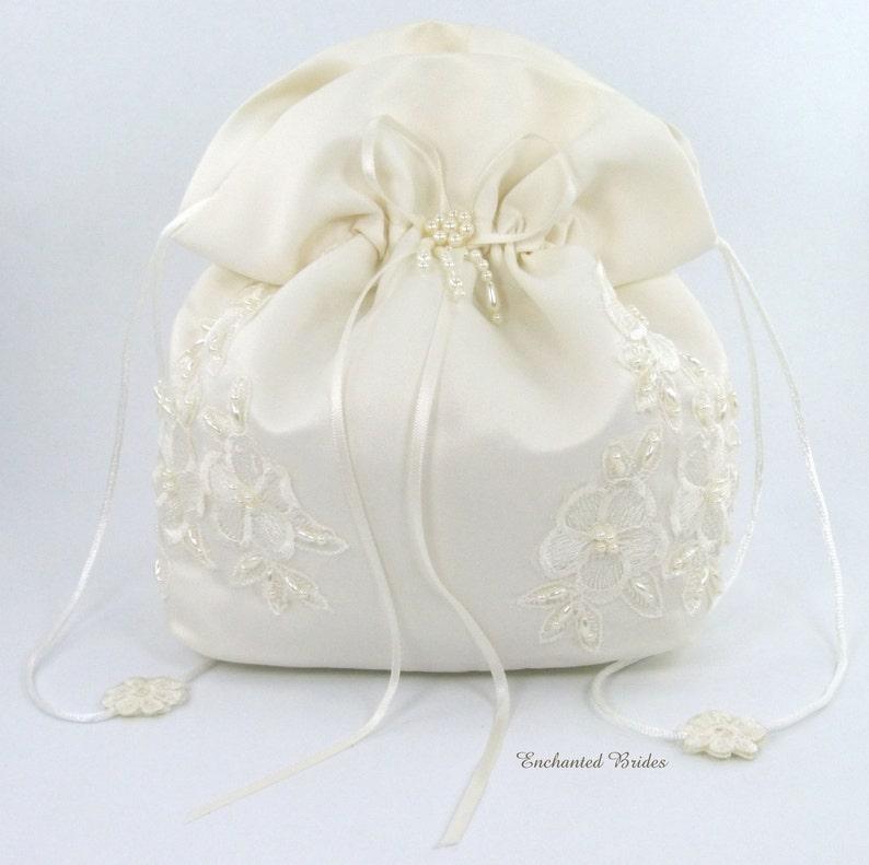 Satin Bridal Wedding SMALL Money Bag E1D4DB with image 0