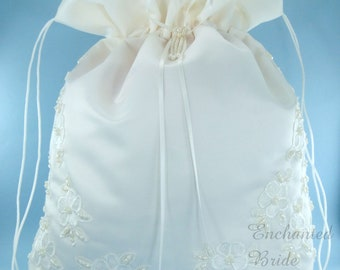 Satin Bridal Wedding LARGE Money Bag (#E1D4MB) with Pearl-Embellished Floral Lace for Envelopes and cards, and Other Special Occasions uses