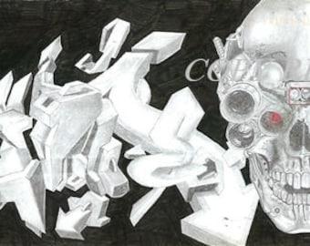 """Bionic Skull Original Art Print  11 3/8"""" L X 5 1/8"""" H Graffiti Colored Pencil on 9 X 12 art paper"""