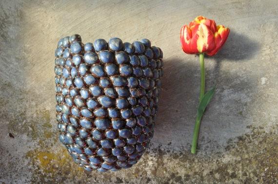 One Of A Kind Vaze Stoneware Vaze Blue And Gold Vaze Centerpiece Gift Idea