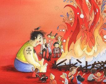 Bonfire! -ORIGINAL ILLUSTRATION