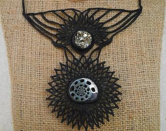 Macramè necklace with pyritized ammonite and pyrite druzy.