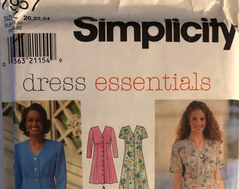 c4c3586a3bb VTG 7957 Simplicity (1997). Dress Essentials. Misses  Dress or Top   Skirt.  Size 20-22-24. Complete