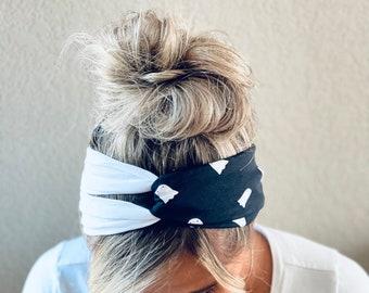 Halloween Ghosts Chunky Split Turban Knot Headband, Adult Soft and Stretchy Turban Headband, Woman's Headband, Headbands for Women