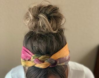 Fall Tie Dye Adult Chunky Sailor Knot Headband, Adult Soft and Stretchy Turban Headband, headbands for Women, Dark Tie Dye