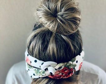 Polka Dot Floral Chunky Sailor Knot Headband, Adult Soft and Stretchy Turban Headband, Woman's Headband, Headbands for Women