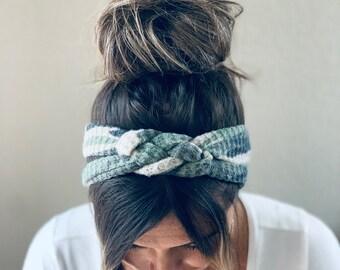 Camouflage  Chunky Sailor Knot Headband, Camp Adult Soft and Stretchy Turban Headband, Woman's Headband, Headbands for Women