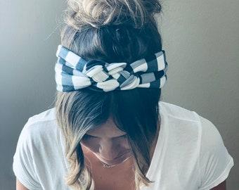 Buffalo Plaid Chunky Sailor Knot Headband, Plaid Adult Soft and Stretchy Turban Headband, Woman's Headband, Headbands for Women