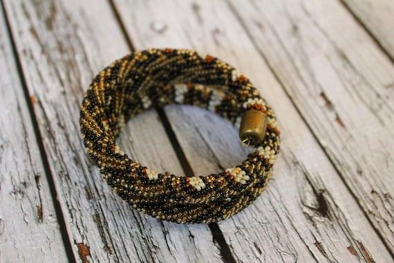 Schwarz Beige braun Tiger Python Perle Schmuck häkeln Python | Etsy