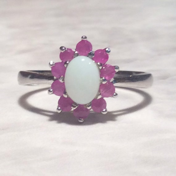Vintage Ruby Opal Silver Ring - Sterling - image 7