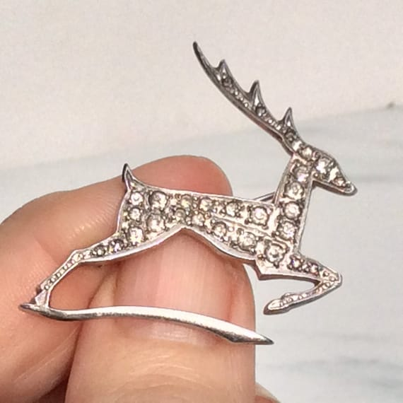 Art Deco Sparkling Paste Silver Leaping Deer Brooc