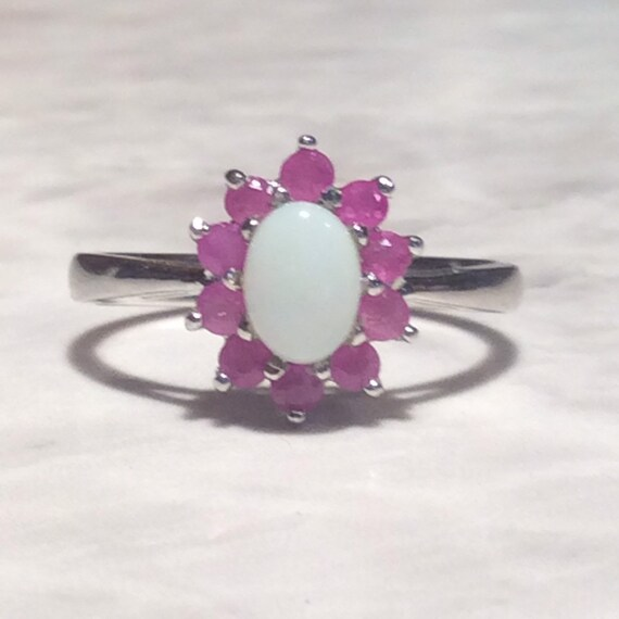 Vintage Ruby Opal Silver Ring - Sterling - image 1