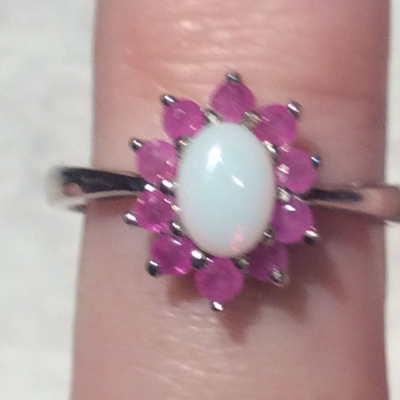 Vintage Ruby Opal Silver Ring - Sterling - image 3