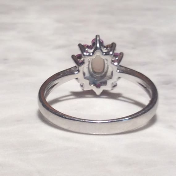 Vintage Ruby Opal Silver Ring - Sterling - image 9