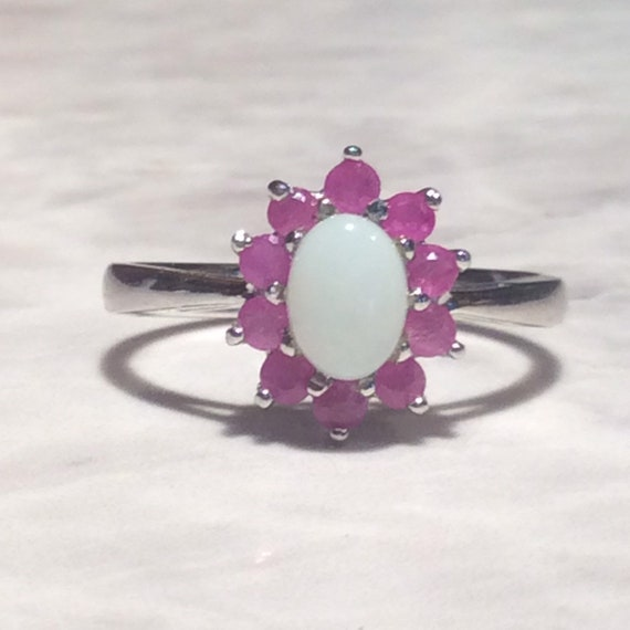 Vintage Ruby Opal Silver Ring - Sterling - image 5