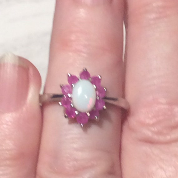 Vintage Ruby Opal Silver Ring - Sterling - image 8