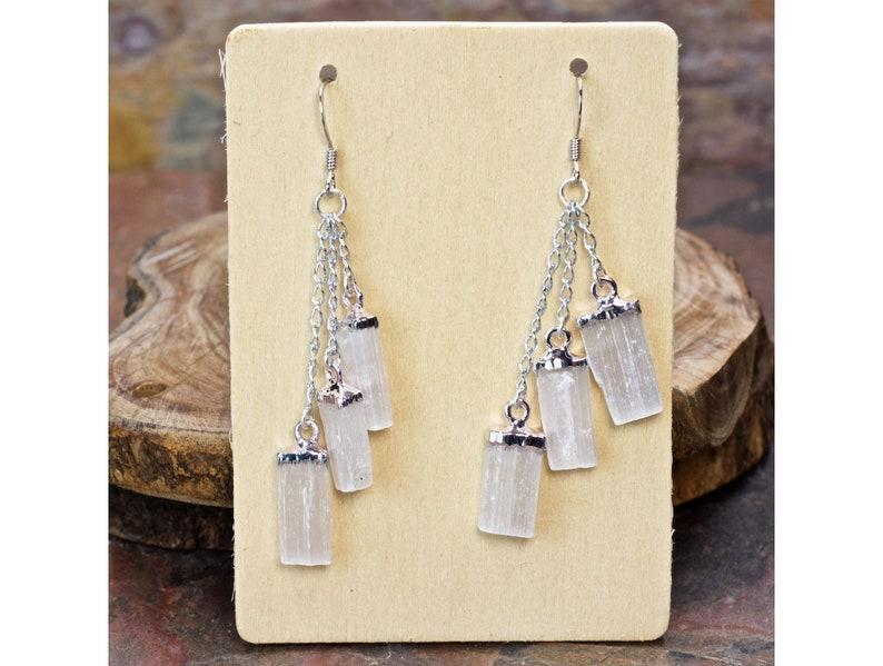 Unique Earrings Crystal Earrings Selenite Triple Dangle Earrings Boho Dangle Earrings Pierced Earrings