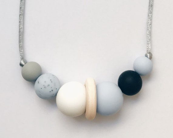 Teething Necklace - Granite Blue