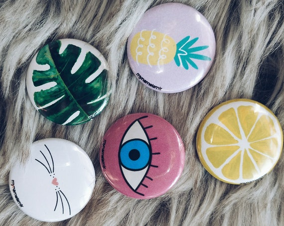 SASSY Summer Spring Fun Badge Set Button Pin 5 units Accessories Gift Girl Tumblr Instagram Snapchat Squad Goals Best Friends BFF Cat Eye