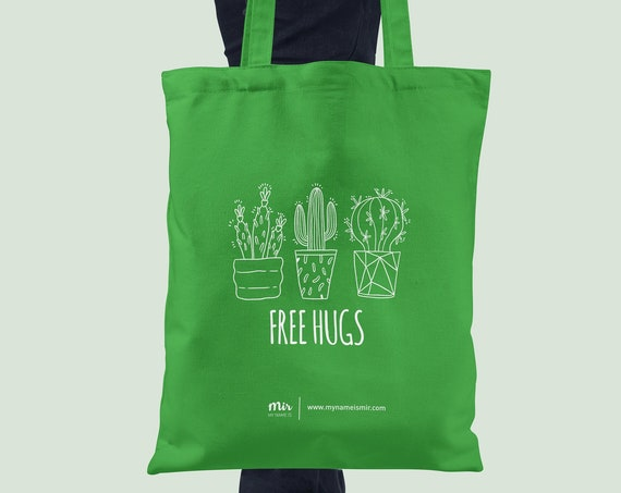FREE HUGS Cactus Cacti Green White Tote Bag Canvas Lettering Ink Brush Modern Hipster College Study Funny Random Work Volg Tumblr Instagram
