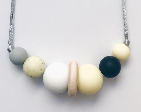 Teething Necklace - Granite Yellow