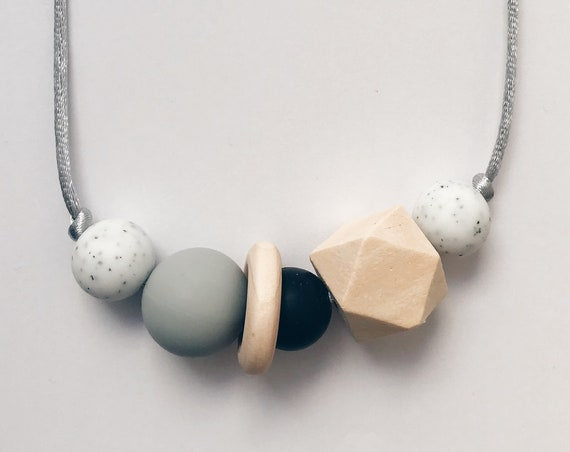 Teething Necklace - Granite Black