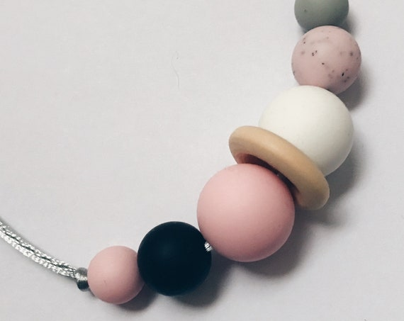 Teething Necklace - Granite Pink