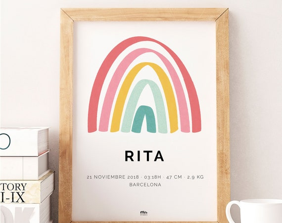 Rainbow Birth Poster - Print