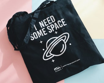 Tote Bag, Canvas, SPACE, Galaxy, Tumblr, Tote Bag Canvas, Cotton Bag, Instagram Canvas College Study Work Vlog, Sassy Quote, Design Black