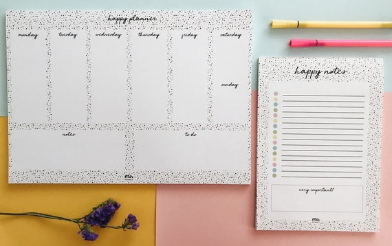 SUPER PACK: Weekly Planner y Notes - Happy