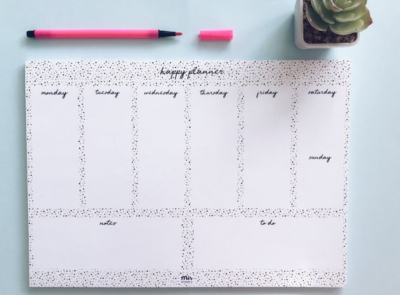 Weekly Planner - Happy, Color Dots, Stationery, Cute Stationary, Work Planner, College Planner, Cute Planner, Week list, to do list