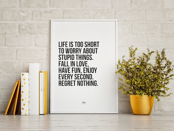 LIFE IS SHORT - Typography Quote Motivational Inspiration Motto Happy Wall Print Wedding Wall Home Decor Nordic Scandinavian Modern Art