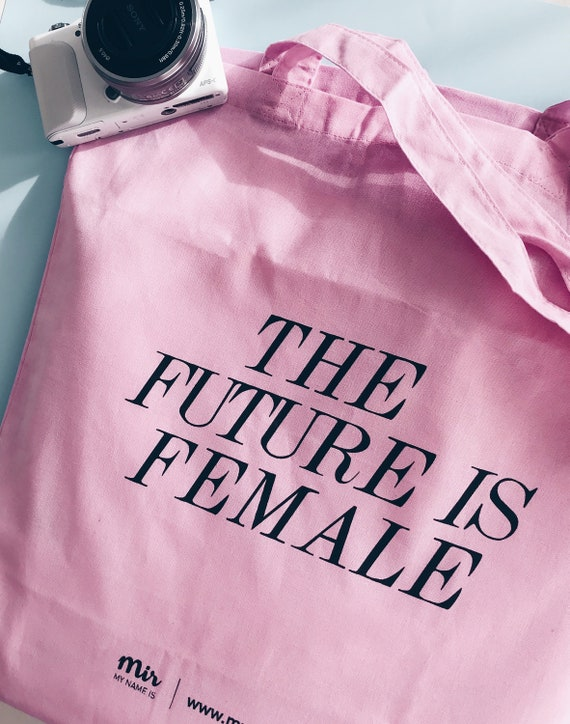 Tote Bag, Canvas, The future is FEMALE,  Tumblr, Instagram, Feminist, Canvas College Study Work Vlog, Girl Power, Quote Design, Pink Bag