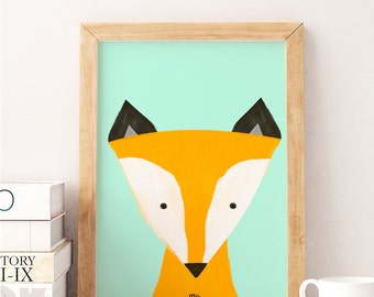 LITTLE FOX - Watercolor Print - Animal Illustration - Baby Born Nursery Gift New Room - Kids Girl Boy - Puppy Print Child Room Deco  Love