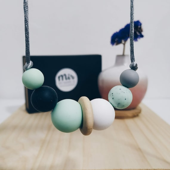 Teething Necklace - Granite Green