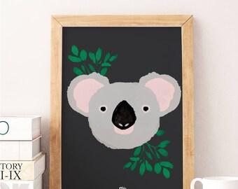 KOALA - Watercolor Print - Animal Illustration - Baby Born Nursery Gift New Room - Kids Girl Boy - Puppy Print Child Room Deco  Love