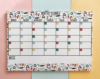 Monthly Planner - Memphis, Retro Style, Stationery, Cute Stationary, Work Planner, College Planner, Cute Planner, Week list, to do list