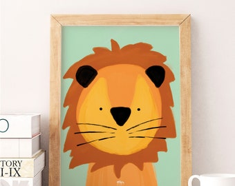 Sweet Lion - Watercolor Print, Animal Illustration, Baby Born, Nursery Gift, Kids Room, Nursery Decoration