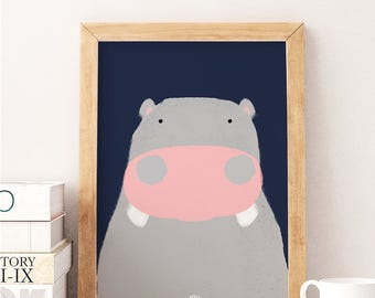 HAPPY HIPPO - Watercolor Print - Animal Illustration - Baby Born Nursery Gift New Room - Kids Girl Boy - Puppy Print Child Room Deco Teddy