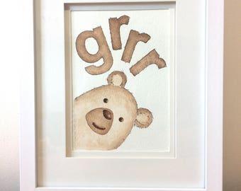 Grizzly bear illustration, nursery wall art