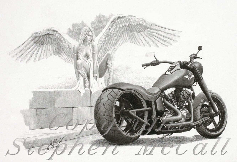 Original pencil drawing temptation by stephen mccall beautiful angel harley davidson drawings motorcycle drawings harley fatboy angel