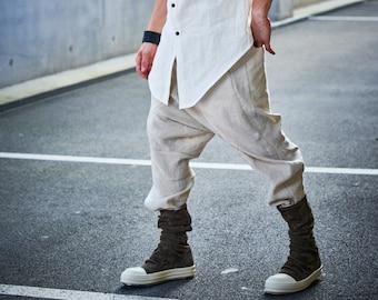Linen Cropped Pants / Drop Crotch Trousers / Linen Low Crotch Pants / Extravagant Mens Pants / Futuristic Clothing by POWHA