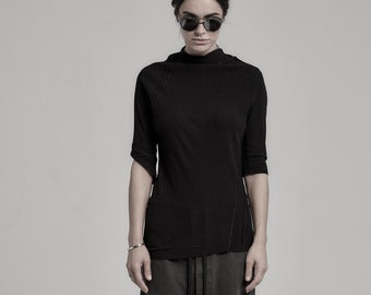 Momentum Half Sleeve Ribbed Top | Half Sleeved Blouse | Minimalist Black Top | Black Blouse | Contemporary Womenswear by POWHA