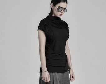 Lamellas Black Cap Sleeve Top | Cap Sleeved Blouse | Extravagant Black Top | Black Blouse | Contemporary Womenswear by POWHA