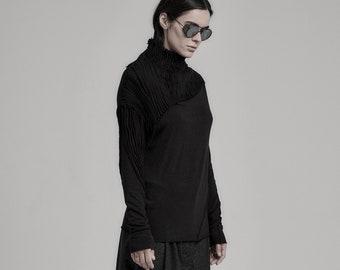 Lamellas Black Long Sleeve Top | Long Sleeved Blouse | Extravagant Black Top | Drape Blouse | Contemporary Womenswear by POWHA