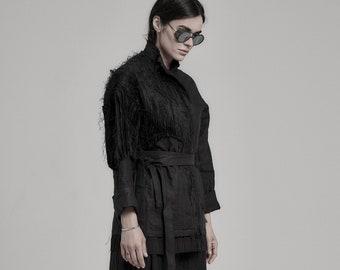 Lamellas Black Boiled Kimono Jacket / Linen Blazer With Belt / Womens Jacket / Extravagant Clothing by POWHA